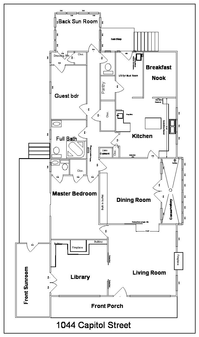 The floor plan of Casa De Kitty as purchased